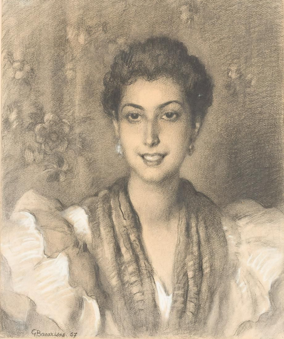 GUSTAVO BACARISAS Y PODESTÁ Retrato de señora.