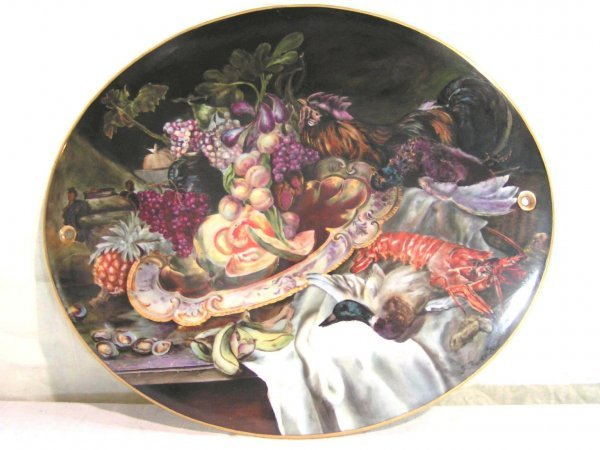 7: hand painted kpm type porcelain plaque marked hutchi