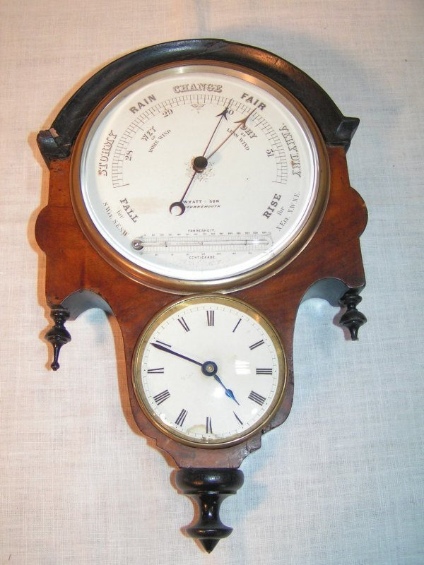 8: barometer and clock marked wyatt and son bournmouth