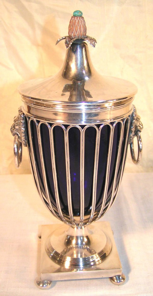 11: silver cobalt glass lined urn with pineapple finial