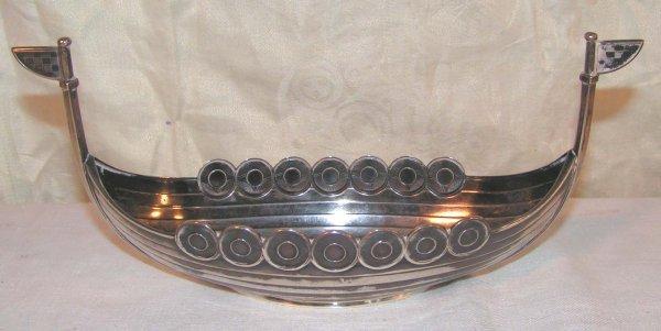 12: norwegian sterling silver viking ship bowl mark of