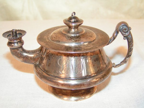 13: reed and barton sterling silver teapot shaped oil l