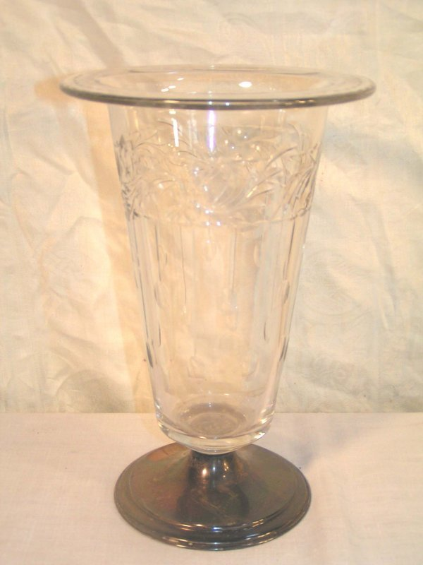 14: wheel cut crystal vase with sterling silver base 11