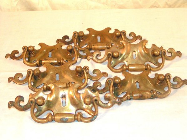 16: set of 6 heavy brass drawer pulls 8 inches wide