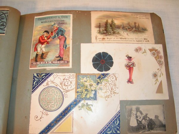 18: VICTORIAN SCAPBOOK WITH MISC DIECUTS TRADE CARDS EC