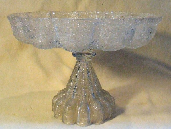 2: earlyAmerican pressed glass overshot glass compote
