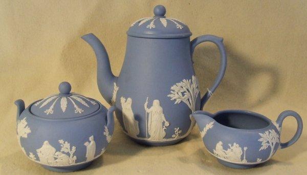 4: Wedgewood 3 piece blue jasperware tea set marked mad