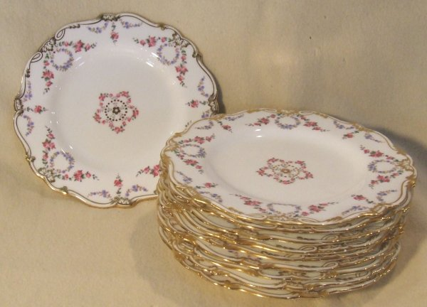 7: Minton china set of 10 hand painted porcelain plates