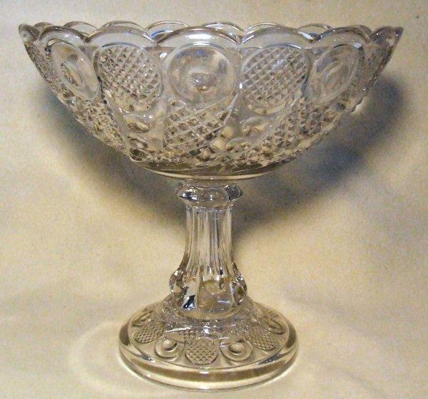 9: Horn of plenty pattern early Flint glass compote 9 i