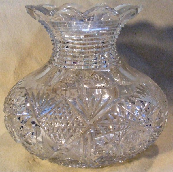 13: Brilliant cut glass large center vase 9 inches tall