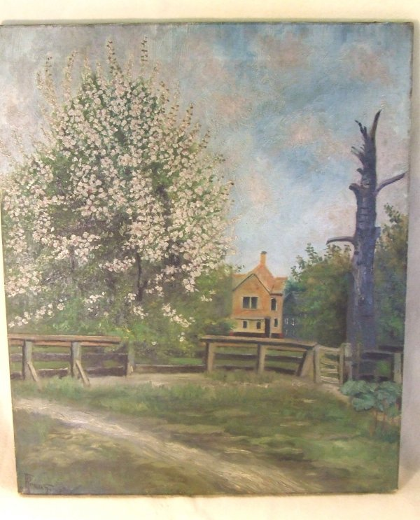 22: R Prang signed oil on canvas painting 20 x 24 good
