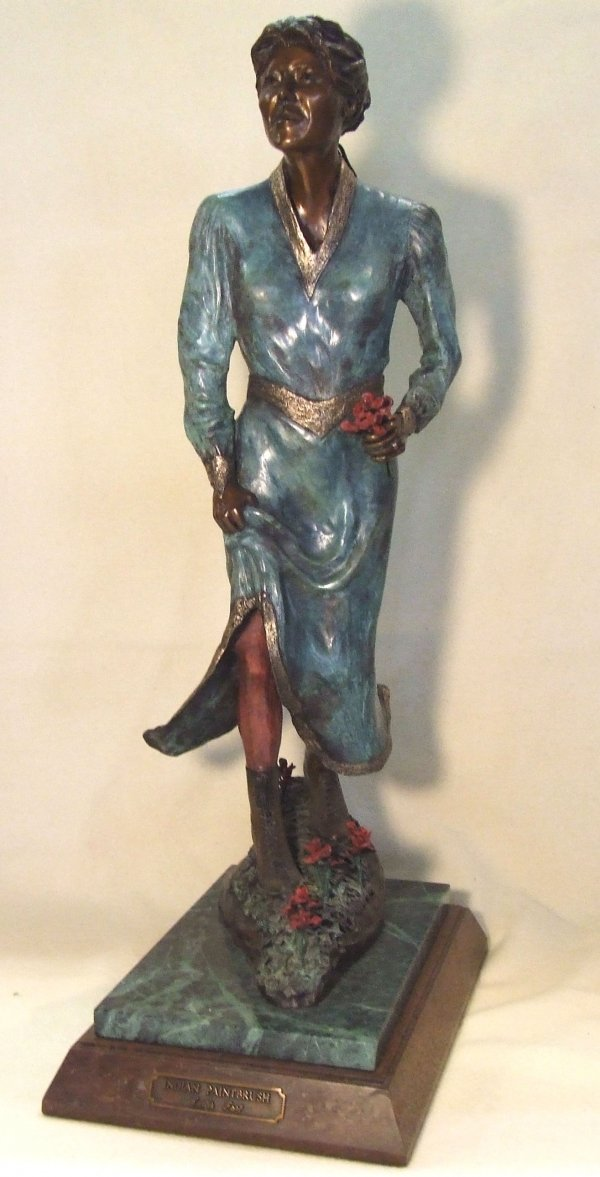 """23: Curtis Fort painted bronze sculpture """"Indian Paintb"""