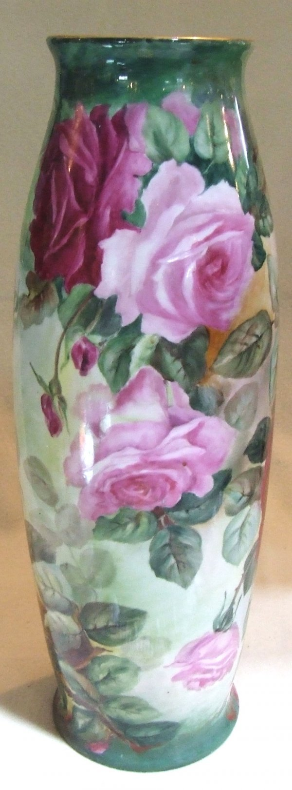 99: T and V Limoge 22 inch handpainted vase with rose d