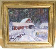 141: Oscar Anderson signed oil painting on board snow s