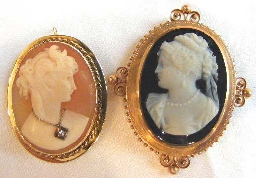 1006: Two Victorian 14K gold cameo brooches. One shell