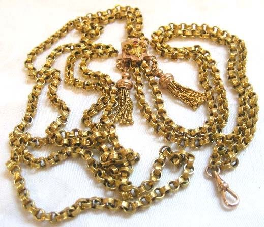 1022: 9K Victorian slide chain with 14K slide set with