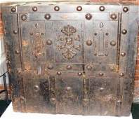 """1222: Early iron safe, Italy. Measures 24"""" high, 27"""" wi"""