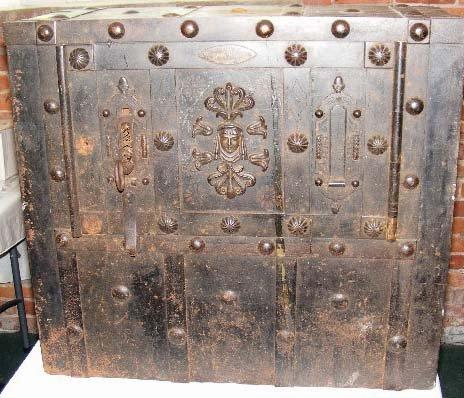 "1222: Early iron safe, Italy. Measures 24"" high, 27"" wi"