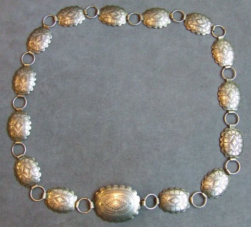 2: Southwest sterling silver belt with turtle shell lin
