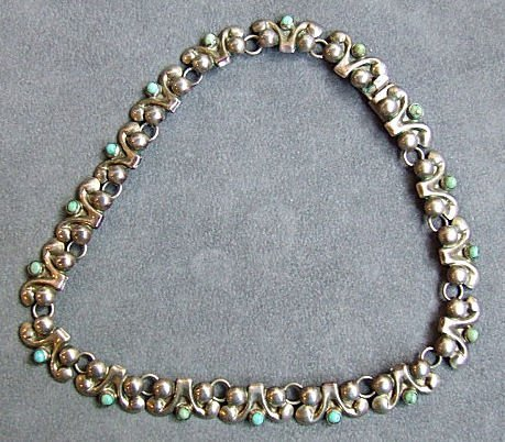 3: Mexican sterling silver & turquoise necklace. Two fr