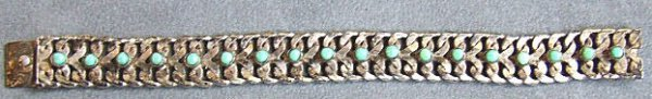 """5: Sterling silver & turquoise bracelet.  Marked """"Sterl"""
