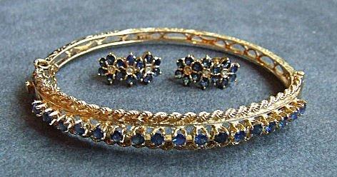 10: 14K gold & sapphire bangle bracelet & earrings. Ban