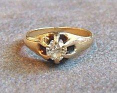 16:  14k gold diamond ring set with old cut diamond, ap
