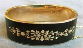 54 14K yellow gold enameled Victorian cuff bracelet