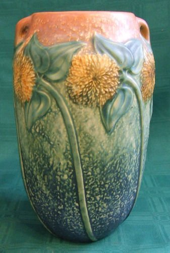 105: Roseville Sunflower vase measuring 10.5 inches hig