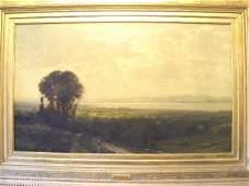 177 JB Bristol oil painting on canvas of mountain