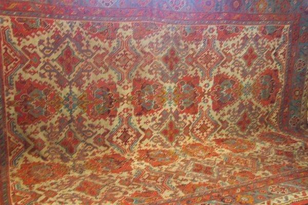 "237: Antique Oushak oriental rug, approx. 12""2' X 16'"