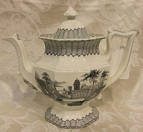 402: Ironstone Corinth pattern teapot in excellent cond