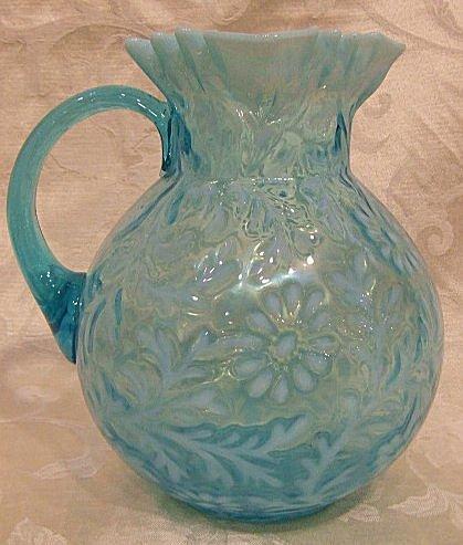 405: Fenton blue opalescent daisy & fern pattern water