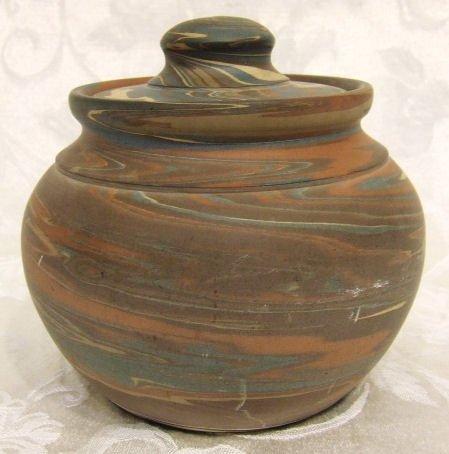 "408: Niloak pottery covered jar, 6"" wide, 5.5"" high.  E"