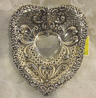 409: Large Gorham sterling silver heart shaped footed b