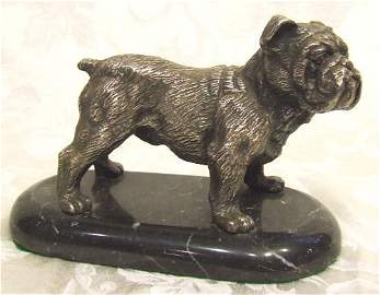 416: Sterling silver figural bulldog sculpture mounted