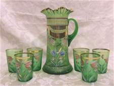 437 Victorian enameled green glass lemonade set Pitch