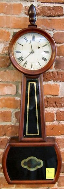 489: 19th. C. American banjo clock, original weights, g