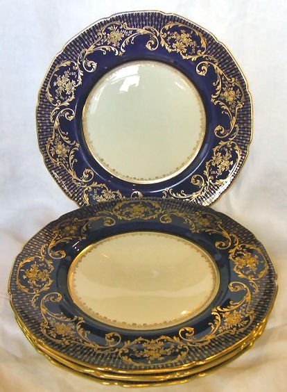 "704: 5 Royal Doulton 10.5"" plates, cobalt blue and gold"