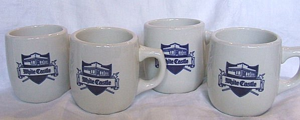 707: 4 old White Castle Restaurant cups, Mayer China Co