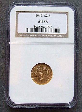 712: U.S. Indian Head Gold coin, 1912, $2.50 NGC graded