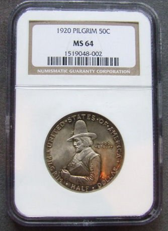 714: U.S. Coin, 1920 Pilgrim 50 cent, NGC graded MS 64