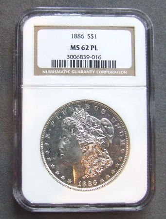 715: U.S. Coin, 1886 Morgan silver dollar NGC graded MS