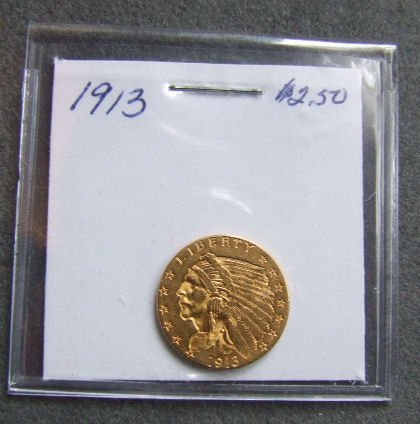 720: U.S. Indian Head gold coin, 1913, $2.50, AU 58