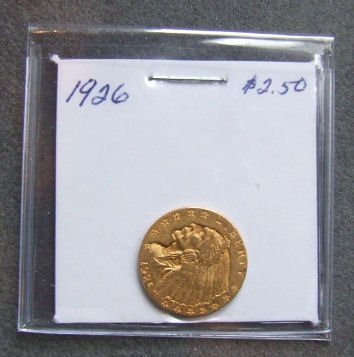 721: U.S. Indian Head gold coin ,1926  $2.50, AU 53