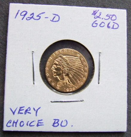 722: U.S. Indian Head $2.50 gold coin, 1925-D, MS 64 Fr