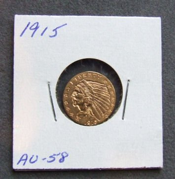 723: U.S. Indian Head gold coin, $2.50, 1915 AU 58