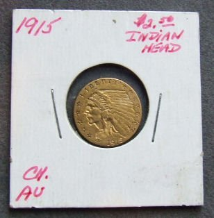 724: U.S. Indian Head gold coin, $2.50, 1915, CH AU