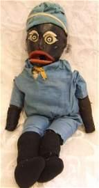 780: Black Americana Folk Art carved wood doll / puppet