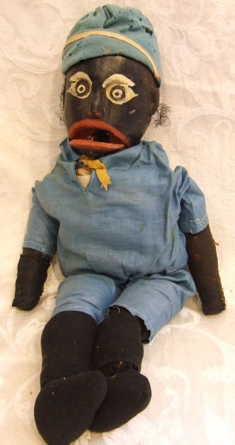 780: Black Americana Folk Art carved wood doll / puppet